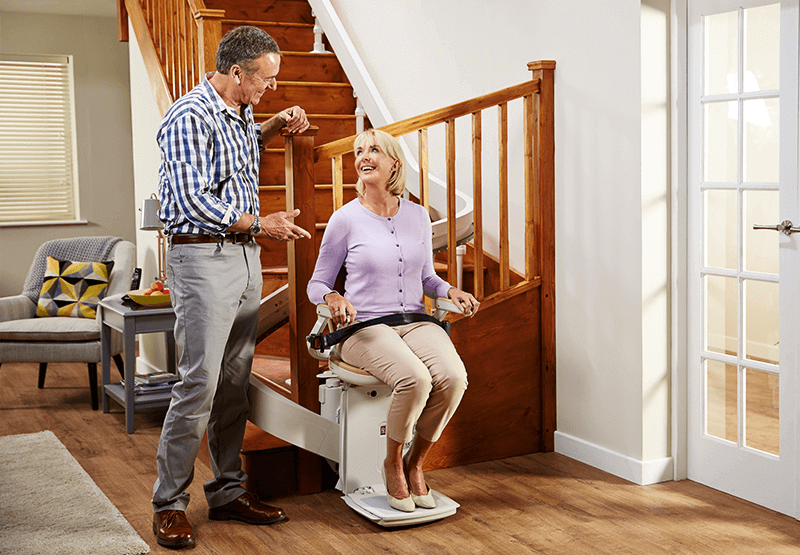 Image of Dr Hilary with Acorn 180 Curved Stairlift