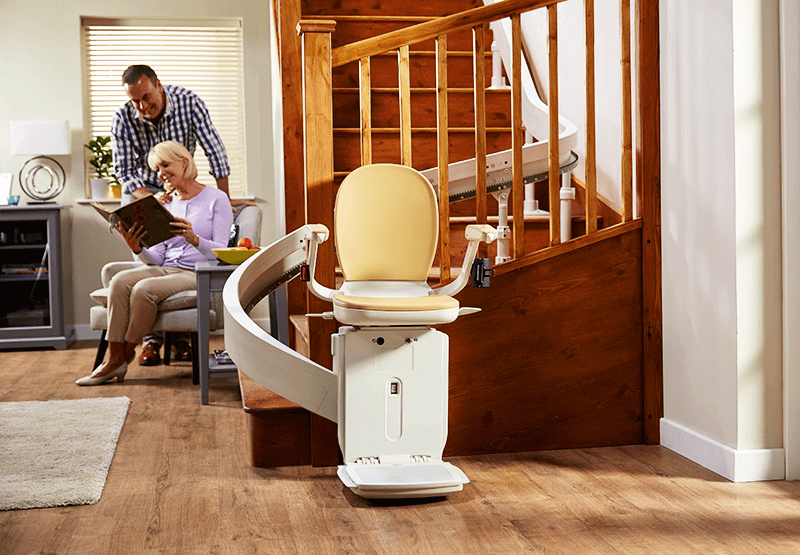 Image of Acorn 180 Curved Stairlift installed